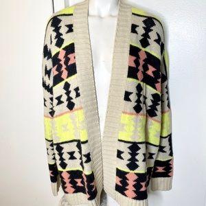 Lush Boho Aztec Cardigan Sweater M L